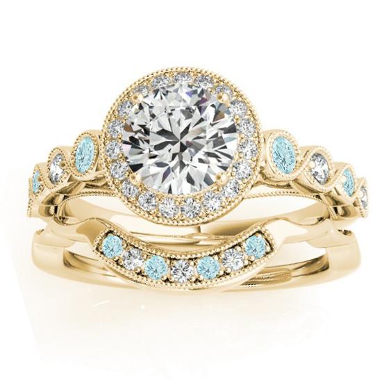 Aquamarine & Diamond Halo Bridal Set Setting 14K Yellow Gold (0.54ct)