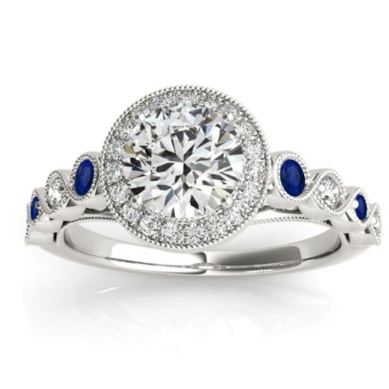 Blue Sapphire & Diamond Halo Engagement Ring 14K White Gold (0.36ct)