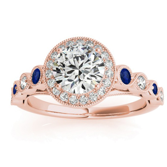 Blue Sapphire & Diamond Halo Engagement Ring 18K Rose Gold (0.36ct)
