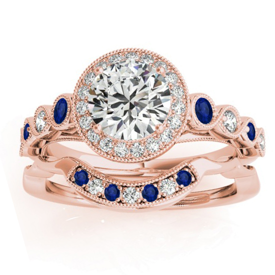Blue Sapphire & Diamond Halo Bridal Set 14K Rose Gold (0.54ct)