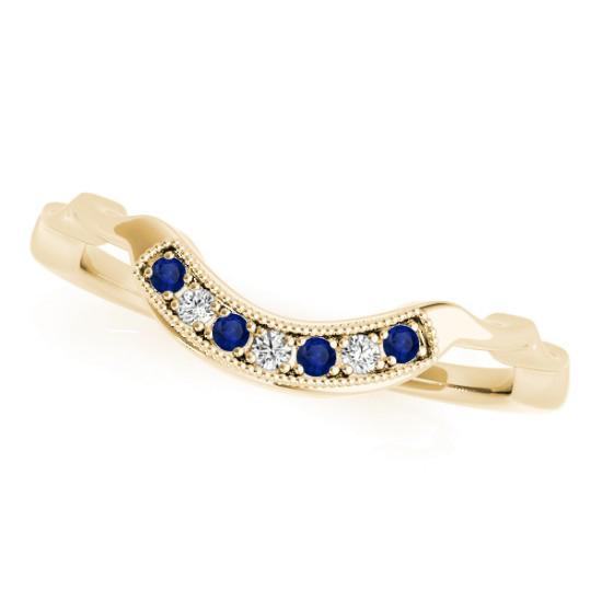 Blue Sapphire & Diamond Wedding Band 14k Yellow Gold (0.05ct)