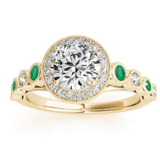 Emerald & Diamond Halo Engagement Ring 18K Yellow Gold (0.36ct)