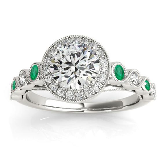 Emerald & Diamond Halo Engagement Ring Platinum (0.36ct)