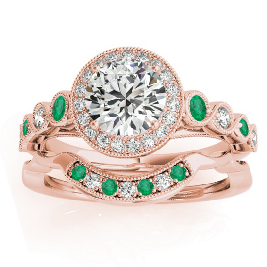 Emerald & Diamond Halo Bridal Set Setting 18K Rose Gold (0.54ct)