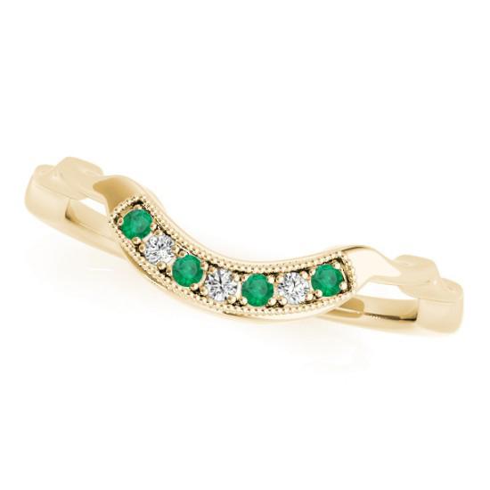 Emerald & Diamond Contoured Wedding Band 14k Yellow Gold (0.05ct)