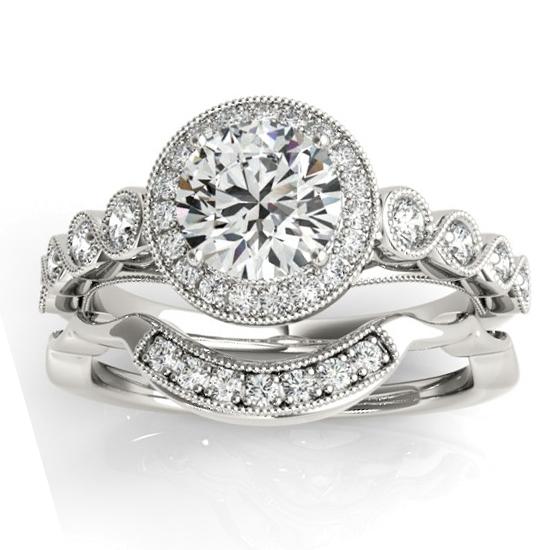 Diamond Halo Swirl Bridal Set Setting 18K White Gold (0.41ct)