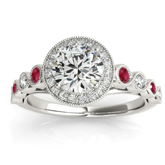 Ruby & Diamond Halo Engagement Ring 14K White Gold (0.36ct)