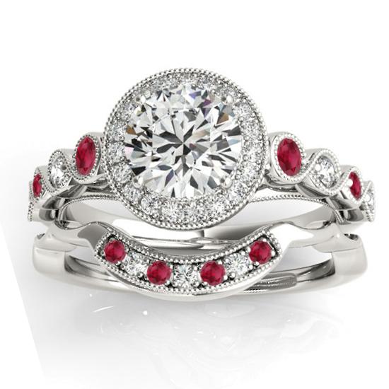 Ruby & Diamond Halo Bridal Set Setting 18K White Gold (0.54ct)