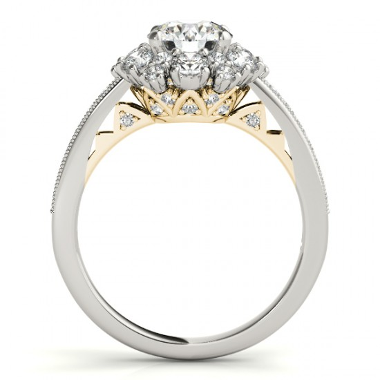 Diamond Halo Round Engagement Ring Setting 18k Two Tone Gold 1 01ct