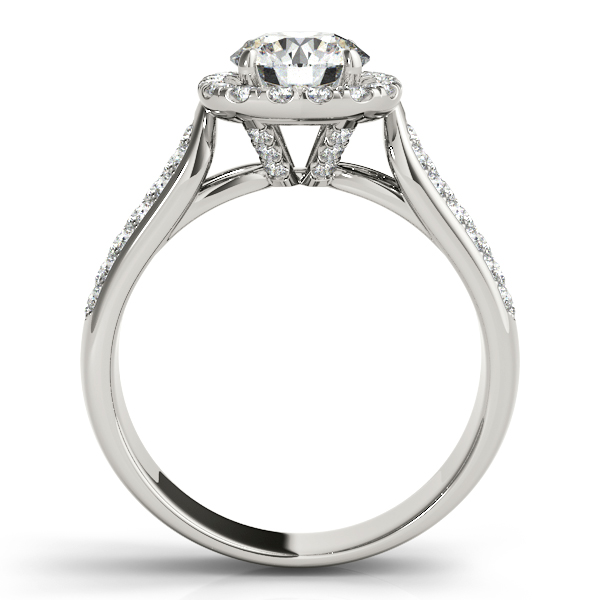 Three Row Round Halo Diamond Engagement Ring 18k White Gold (1.75ct)