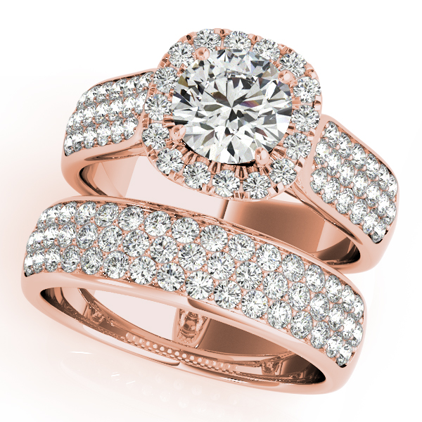 Three Row Halo Diamond Engagement Ring Bridal Set 18k R. Gold (2.38ct)