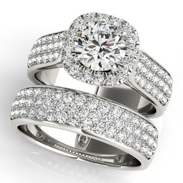 Three Row Halo Diamond Engagement Ring Bridal Set Palladium (2.38ct)