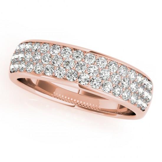 Three Row Diamond Wedding Band 18k Rose Gold (0.63ct)