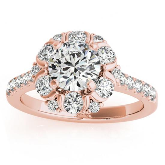 Flower Halo Diamond Engagement Ring Designer 14k Rose Gold 0.88ct