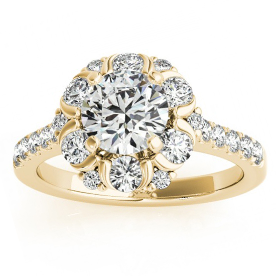 Flower Halo Diamond Engagement Ring Designer 14k Yellow Gold 0.88ct