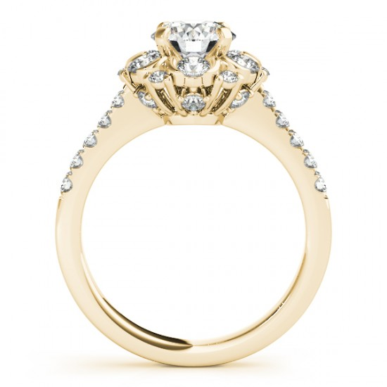 Flower Halo Diamond Engagement Ring Designer 14k Yellow Gold 0.88ct
