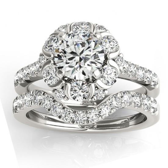 Flower Halo Diamond Ring and Band Bridal Set 14k White Gold 1.21ct