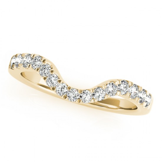 Diamond Accented Contour Shape Wedding Band in 14k Yellow Gold 0.33ct