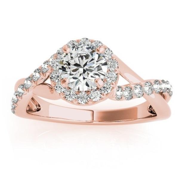 Twisted Shank Halo Diamond Engagement Ring Setting 14k R. Gold 0.30ct