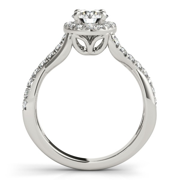 Twisted Shank Halo Diamond Engagement Ring Setting 14k W. Gold 0.30ct