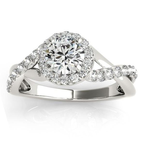 Diamond Twisted Halo Engagement Ring Setting 18k White Gold (0.33ct)
