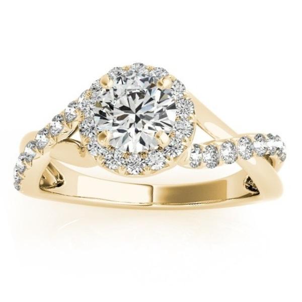 Diamond Twisted Halo Engagement Ring Setting 18k Yellow Gold (0.33ct)