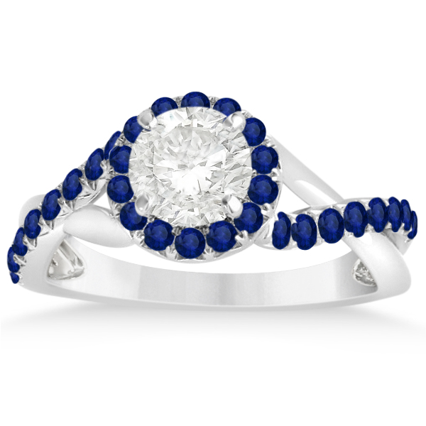 Twisted Halo Blue Sapphire Engagement Ring Setting 14k W Gold 0.30ct