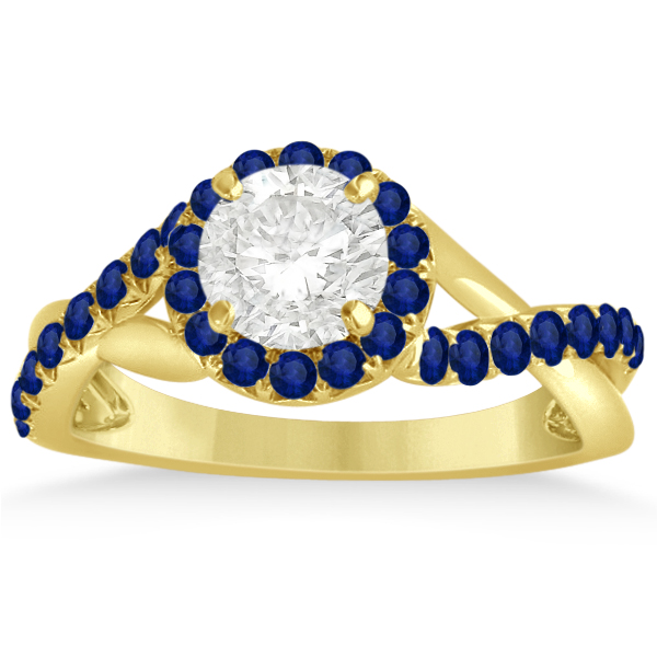 Twisted Halo Blue Sapphire Engagement Ring Setting 14k Y. Gold 0.30ct