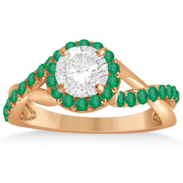Twisted Shank Halo Emerald Engagement Ring Setting 14k R. Gold 0.30ct