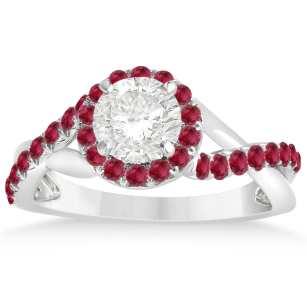 Twisted Shank Halo Ruby Engagement Ring Setting 14k W Gold 0.30ct