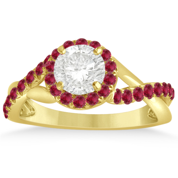 Twisted Shank Halo Ruby Engagement Ring Setting 14k Y. Gold 0.30ct