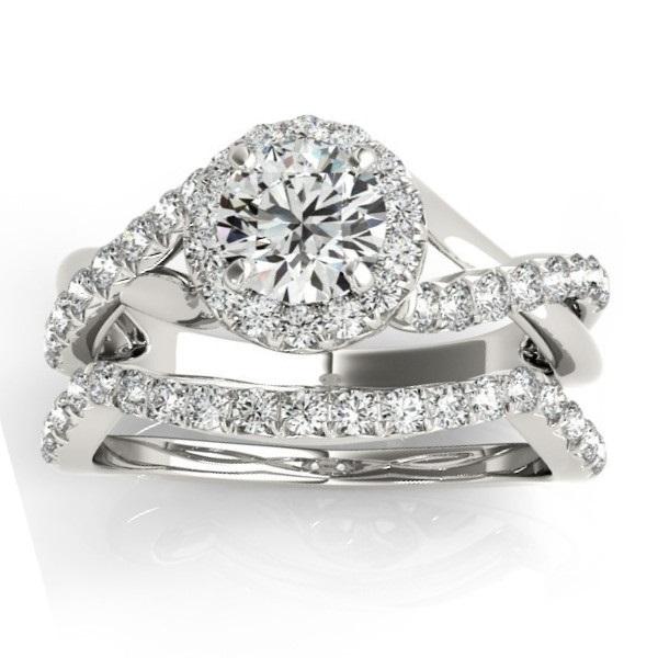 Diamond Engagement Ring Setting & Wedding Band 14k White Gold (0.50ct)