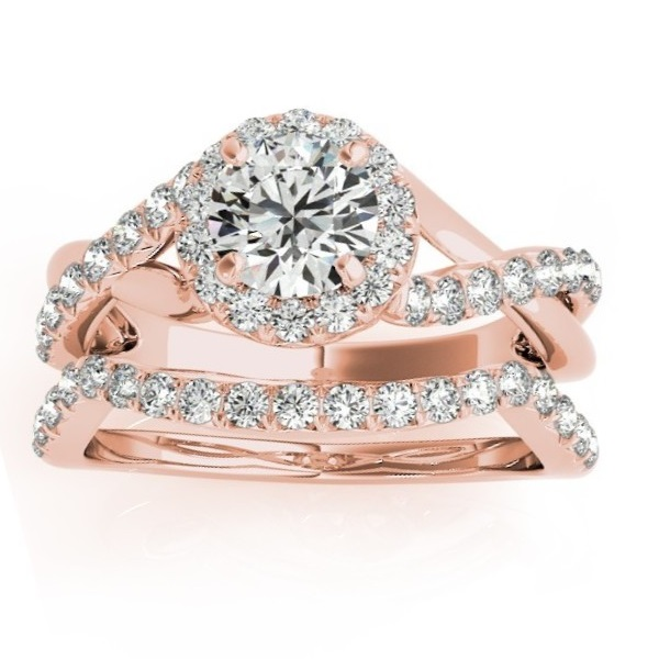 Diamond Twisted Halo Engagement Ring Setting & Band 18k Rose Gold 0.53ct
