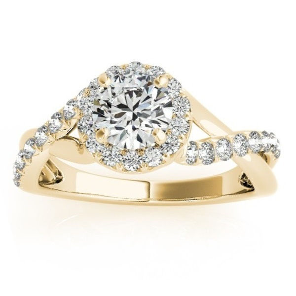 Diamond Twisted Halo Engagement Ring Setting & Band 18k Y. Gold 0.53ct