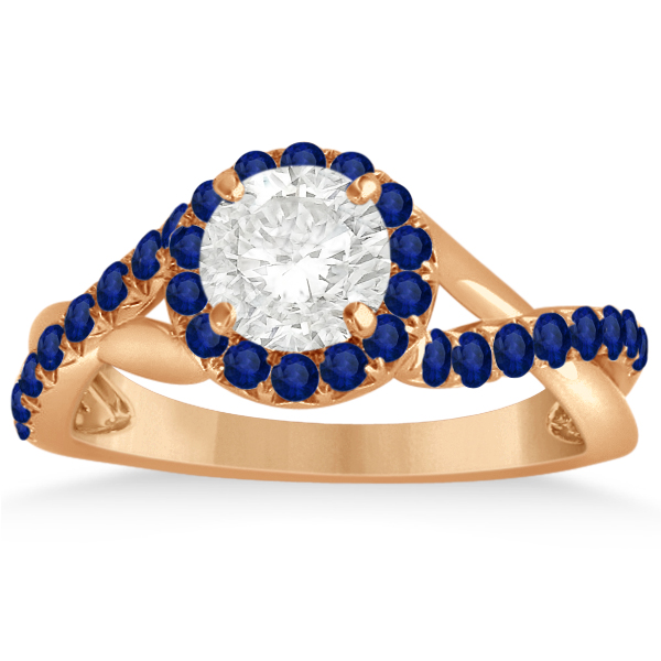 Twisted Shank Halo Blue Sapphire Bridal Set Setting 14k R. Gold 0.50ct