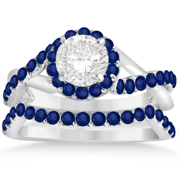 Twisted Shank Halo Blue Sapphire Bridal Set Setting 14k W Gold 0.50ct