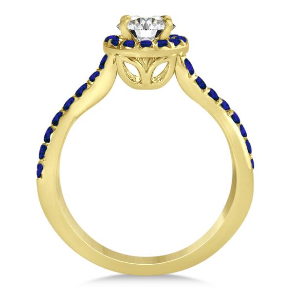 Twisted Shank Halo Blue Sapphire Bridal Set Setting 14k Y. Gold 0.50ct