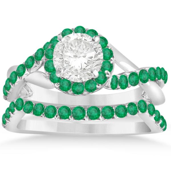 Twisted Shank Shank Halo Emerald Bridal Set Setting 14k W Gold 0.50ct
