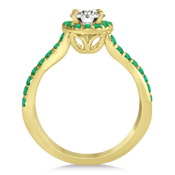 Twisted Shank Shank Halo Emerald Bridal Set Setting 14k Y. Gold 0.50ct