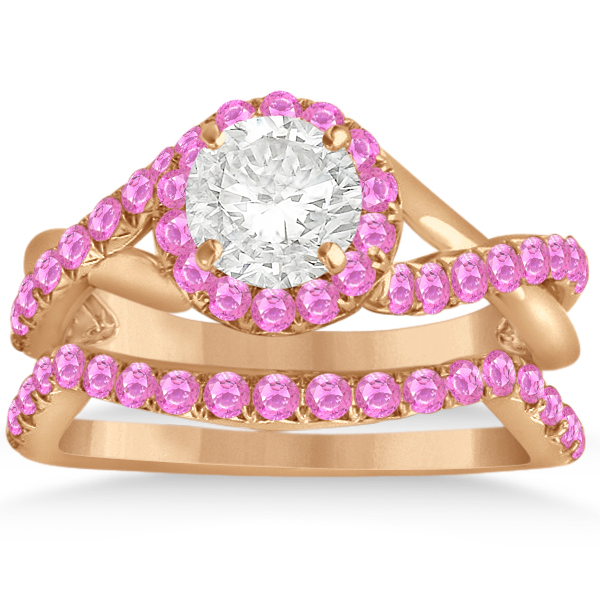 Twisted Shank Halo Pink Sapphire Bridal Set Setting 14k R. Gold 0.50ct