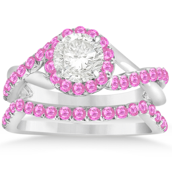 Twisted Shank Halo Pink Sapphire Bridal Set Setting 14k W Gold 0.50ct