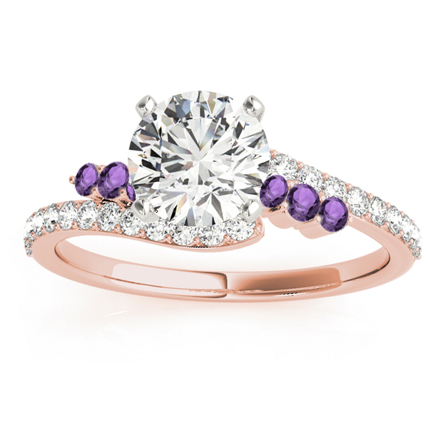 Diamond & Amethyst Bypass Engagement Ring 14k Rose Gold (0.45ct)