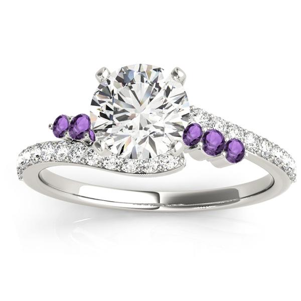 Diamond & Amethyst Bypass Engagement Ring 18k White Gold (0.45ct)