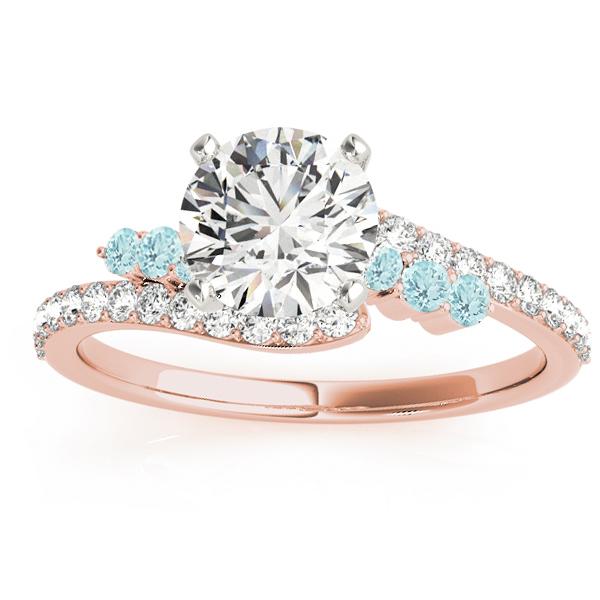 Diamond & Aquamarine Bypass Engagement Ring 14k Rose Gold (0.45ct)