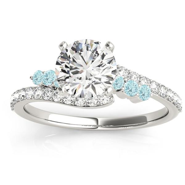 Diamond & Aquamarine Bypass Engagement Ring 14k White Gold (0.45ct)