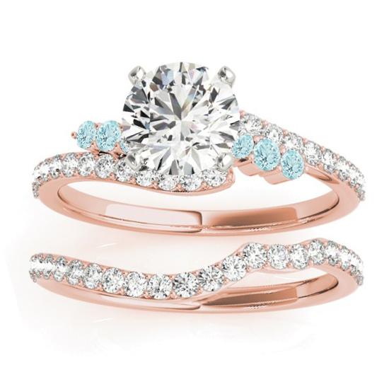 Diamond & Aquamarine Bypass Bridal Set 14k Rose Gold (0.74ct)