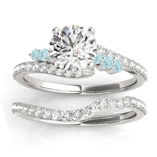 Diamond & Aquamarine Bypass Bridal Set Platinum (0.74ct)