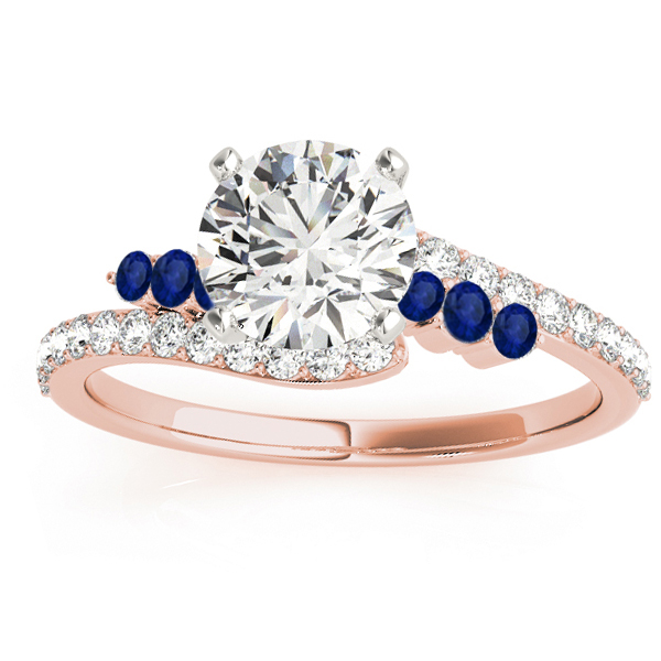 Diamond & Blue Sapphire Bypass Engagement Ring 14k Rose Gold (0.45ct)
