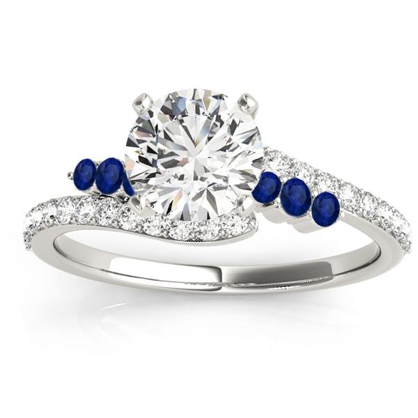 Diamond & Blue Sapphire Bypass Engagement Ring 18k White Gold (0.45ct)