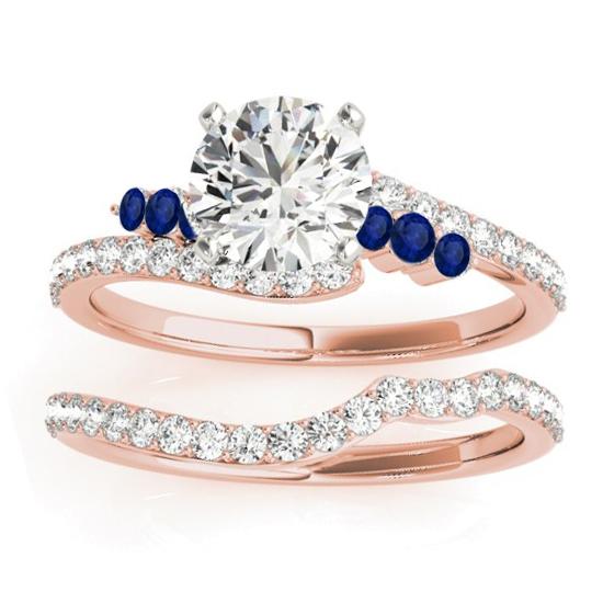 Diamond & Blue Sapphire Bypass Bridal Set 14k Rose Gold (0.74ct)